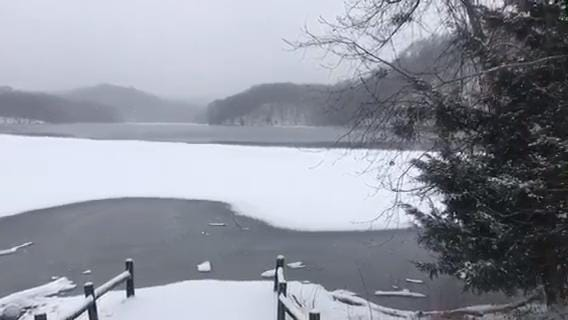 Snowfall at scenic Radnor Lake State Park