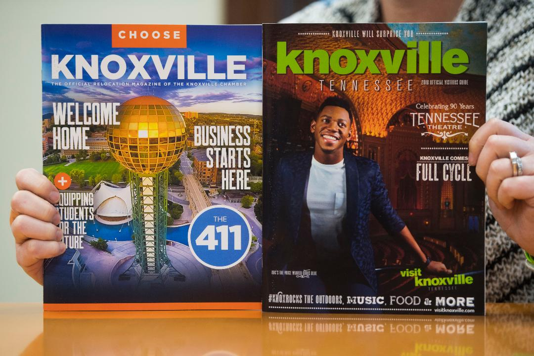 Visit Knoxville president Kim Bumpas talks about the 2018 visitor's guide in her office Tuesday, Jan. 23, 2018.