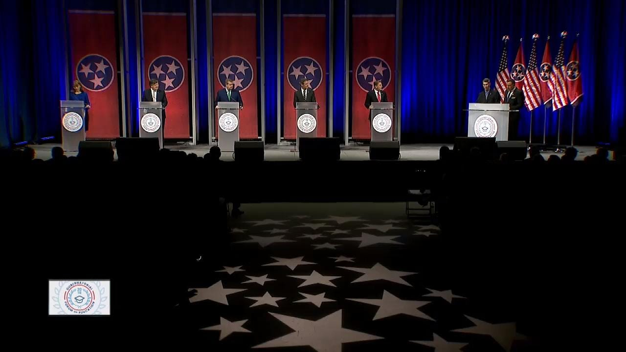 Gubernatorial candidates talk about if their children attend public schools while speak at the gubernatorial forum