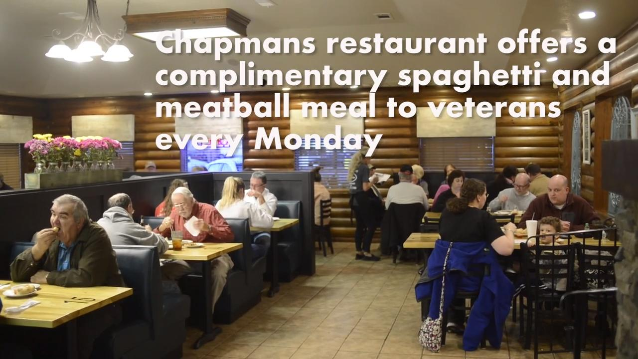 Chapmans restaurant in South Knox County offers complimentary spaghetti and meatball dinner to veterans every Monday.