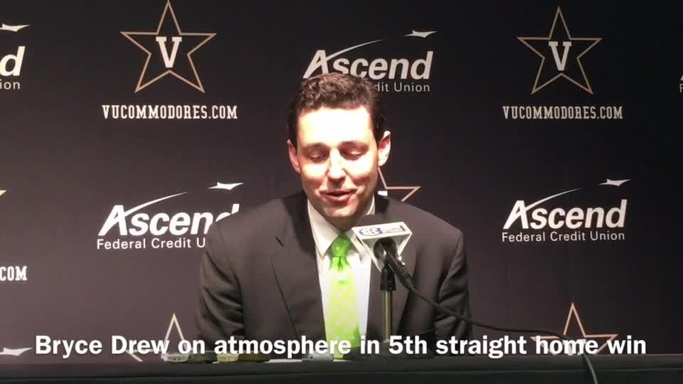 Coach Bryce Drew praised the Memorial Gym crowd of 10,346 after a 71-68 win over Florida.