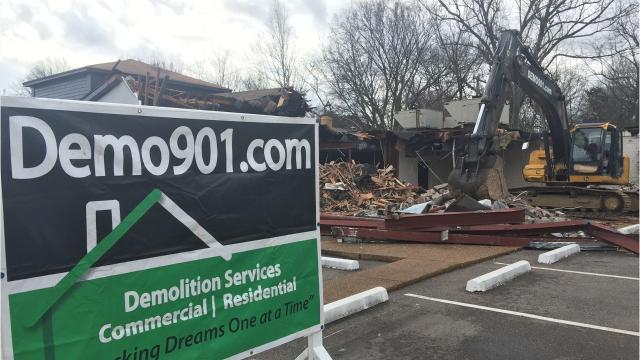 Loeb Properties demolishes vacant medical building to clear space for more parking at Shops of Chickasaw Gardens.