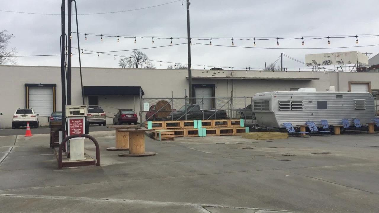 A look at the Central Filling Station, which hosts food trucks on a rotating basis.