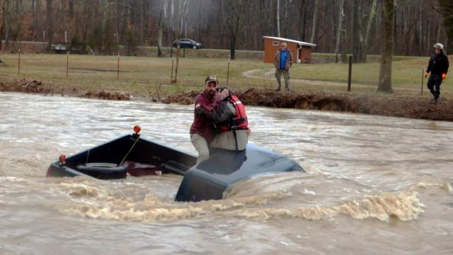 A water rescue in Garner Creek in Dickson County on Saturday involving a stranded couple. Video by James Bendall/For the Herald