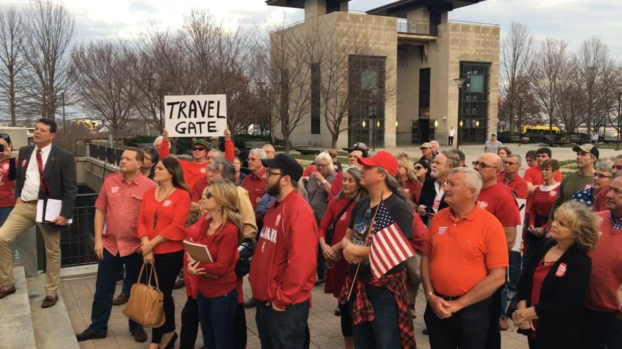 Protesters gather at the Historic Metro Courthouse, 1 Public Square to call for Mayor Megan Barry's resignation on Tuesday, Feb. 20, 2018. Barry admitted to a nearly two-year affair with her former police bodyguard who also was