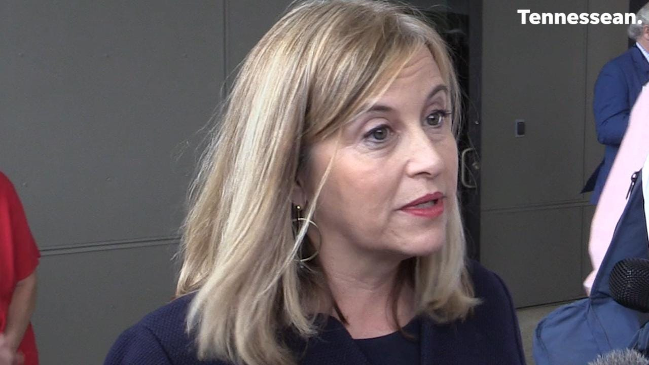 Nashville Mayor Megan Barry speaks to the press in Old Hickory after a ribbon cutting ceremony