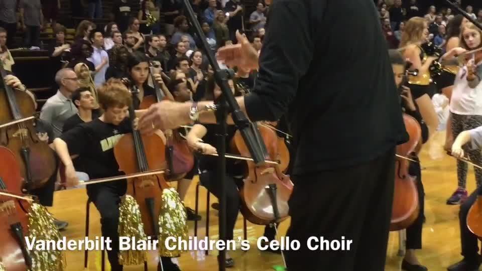 Vanderbilt Blair Children's Cello Choir plays national anthem before Texas A&M-Vandy game on Feb. 24, 2018.