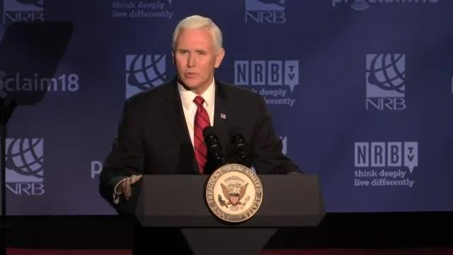 Vice President Mike Pence remembers Rev. Billy Graham at National Religious Broadcasters convention