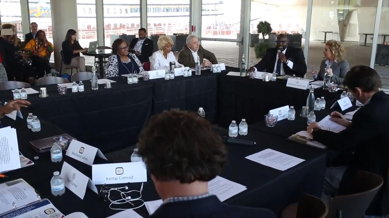 A joint public meeting with the Memphis City Council and the Shelby County Commission at Beale Street Landing. The agenda included talking about suspended driver's licenses and sustainable prekindergarten legislation among other topics.