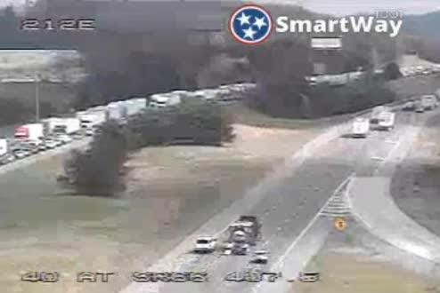 A vehicle cargo fire has stopped traffic at I-40 West in Sevier County at mile marker 406.