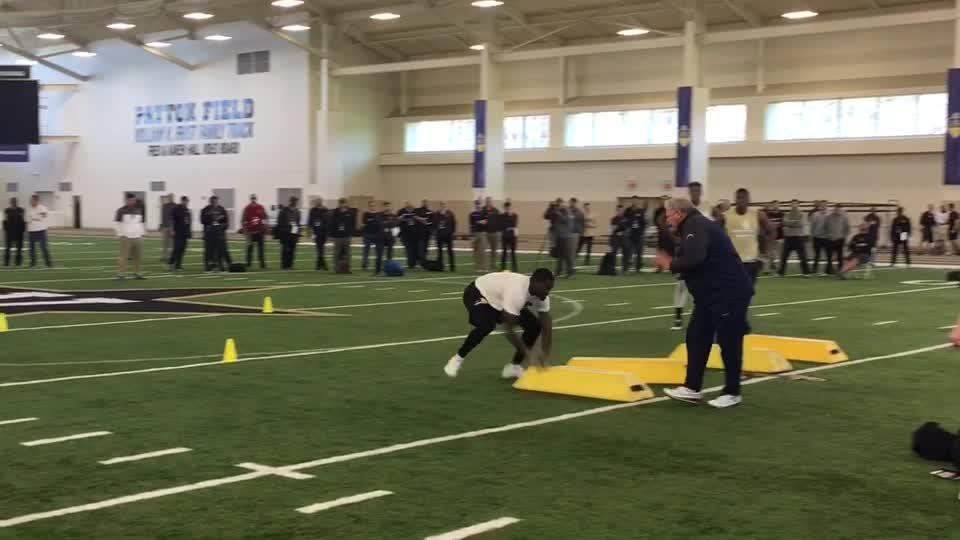 Oren Burks works out at Vandy Pro Day