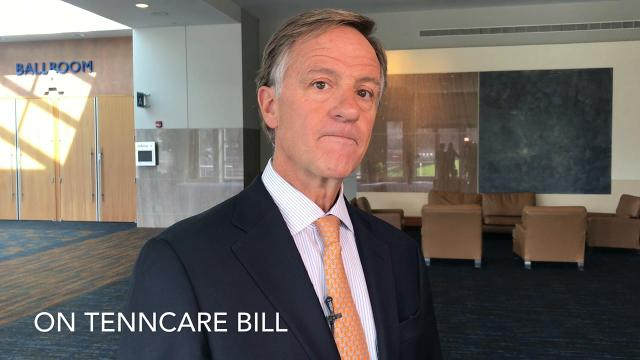 Gov. Bill Haslam spoke to gathered media Monday, March 19, 2018, before giving his keynote address at the Knoxville Chamber luncheon.