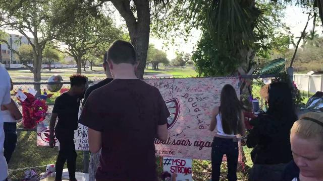 Prayers and memorials for Parkland school shooting victims.