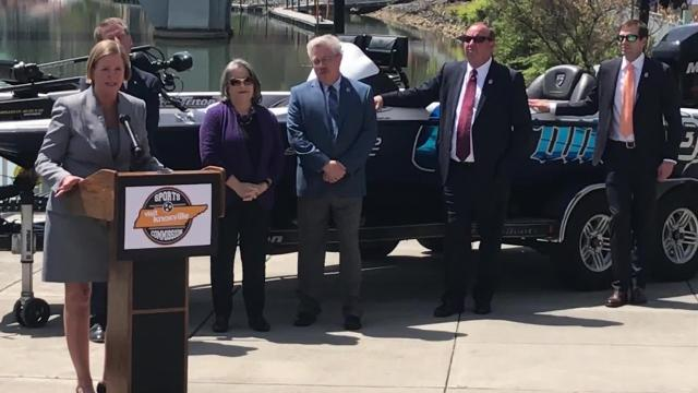 Kim Bumpas, president of Visit Knoxville, quickly identifies those involved in getting the huge fishing tournament here.