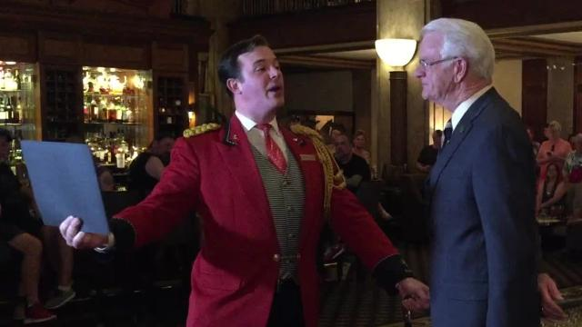 Memphis tourism officials, The Peabody hotel mark National Travel and Tourism Week at hotel's Monday morning march of the ducks.