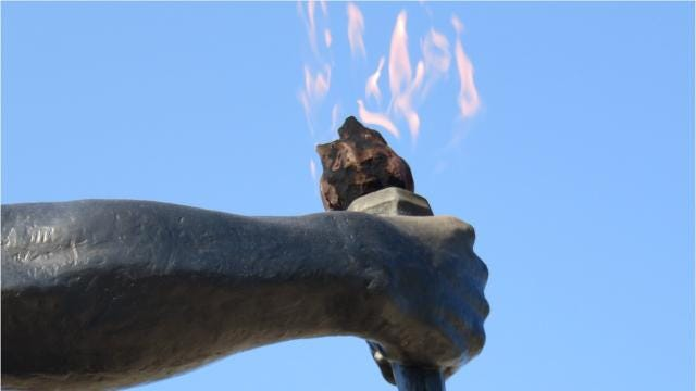 The UT statue--the Torchbearer--was dedicated 50 years ago this spring.