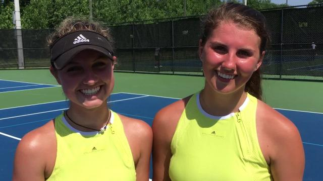 Watch how Calhoun/Fischer, doubles partner's from Brentwood, defended their state title Friday at Adams Tennis Complex.