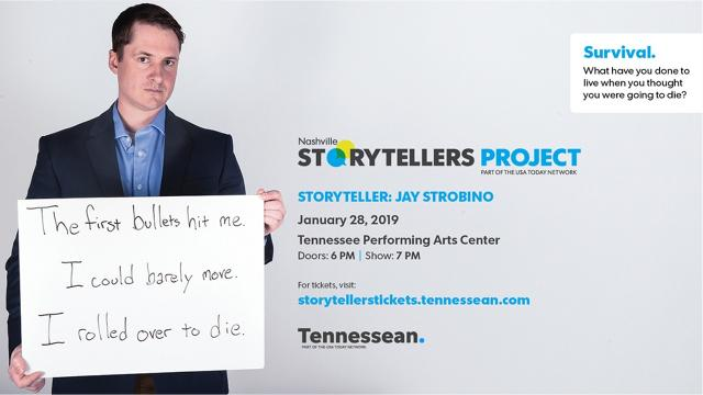 Jay Strobinowas shot 13 times in one-on-one combat with an enemy soldier while serving in the U.S. Army in Iraq in 2006. The MTSU graduate will tell his story of survival at the next Nashville Storytellers on Jan. 28 at TPAC.