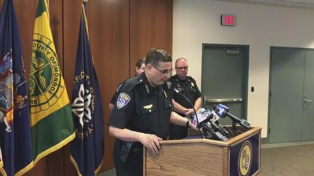 Rochester Police Chief Michael Ciminelli said a police investigator fired a shotgun three times at a suspect during the execution of a search warrant. (June 28, 2017)