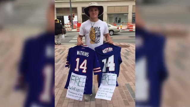 Will Shanahan, 18, from Brighton, came to downtown Rochester today to get rid of his Watkins jerseys.