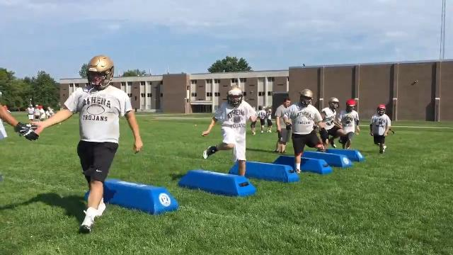 High school football practice kicks off