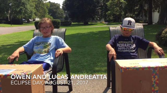 D&C Columnist David Andreatta takes in the eclipse with his kids. They preferred their pinhole cameras to the eclipse glasses David waited 90 minutes to buy.