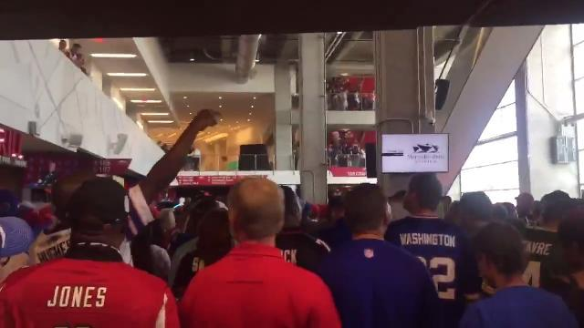 Raw video: Bills fans celebrate as they leave Atlanta's stadium.