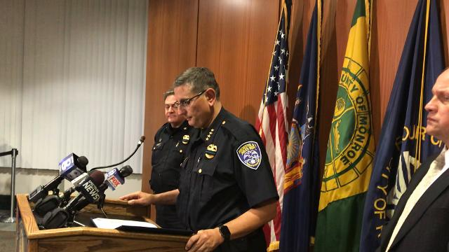 Police Chief Michael Ciminelli announces charges against Charles Timothy Phillips in the shooting of his son Friday. (Oct. 20, 2017)