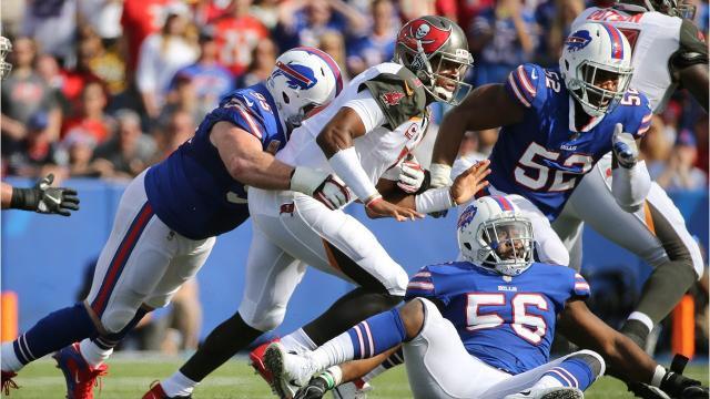 Bills pull an upset beating Tampa Bay Buccaneers with only minutes left in the game. Sal Maiorana grades the Bills on their performance.
