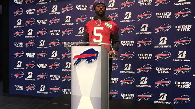 Tyrod Taylor speaks to the media Wednesday