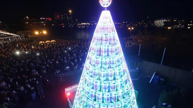 big crowd for the christmas keg tree lighting