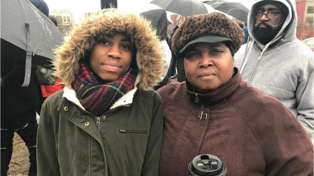 Outside the Rochester City School District headquarters, students and guardians hope to grab the district's attention and a new building.  (Dec. 5, 2017)