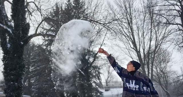 The cold can be cool: Watch what happens when warm water hits the air