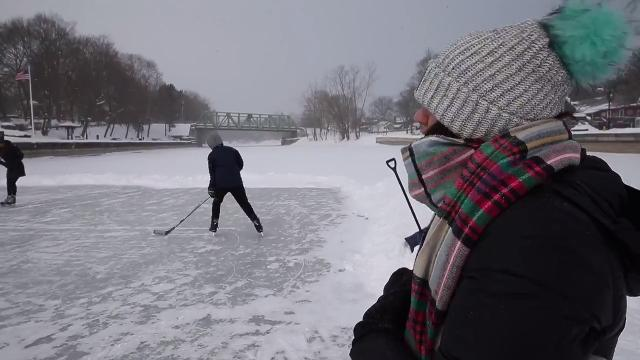 What's it like to play hockey on the canal in subzero temps? This.
