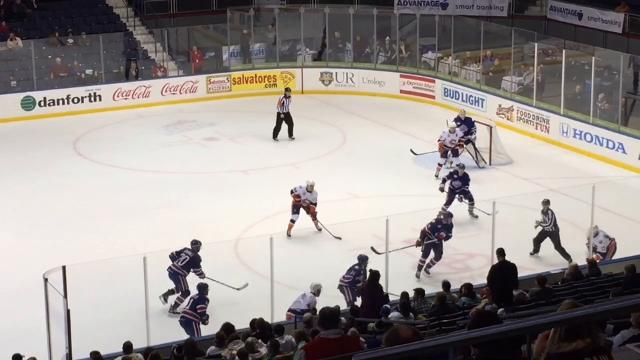 Brendan Guhle scored the winner in overtime as the Rochester Amerks defeated the Bridgeport Sound Tigers 3-2 at the Blue Cross Arena at the Community War Memorial. (Jan. 5, 2017)