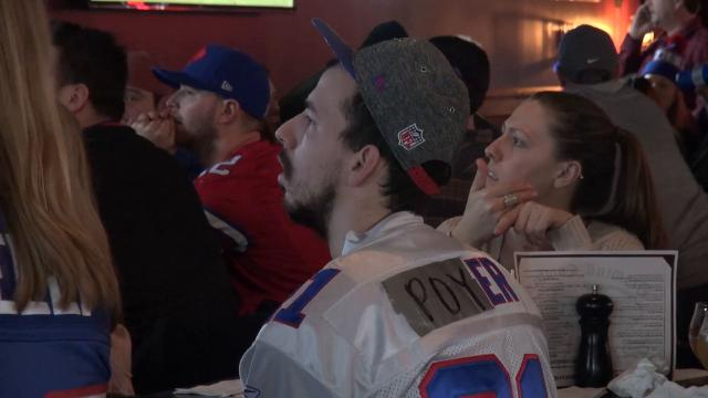 Bills fans gather at Stoneyard American Craft Beer Hall & Grill to watch the playoff game against the Jacksonville Jaguars.