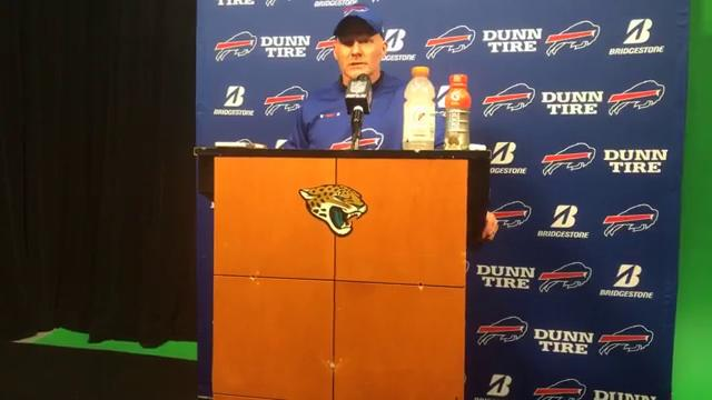 Sean McDermott talks to the media after the Buffalo Bills' 10-3 loss to the Jacksonville Jaguars in the wild-card round of the playoffs. (Jan. 7, 2017)