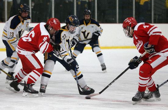 Victor remained the last unbeaten hockey team in Section V of the season with a 4-2 win over Penfield on Jan. 9, 2018.