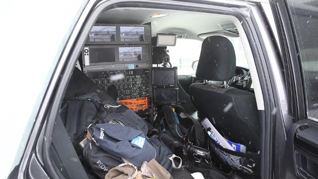 The Weather Channel multimedia journalist Matt Saffer explains the equipment they have in the truck the use on the road. Video by Carlos Ortiz.