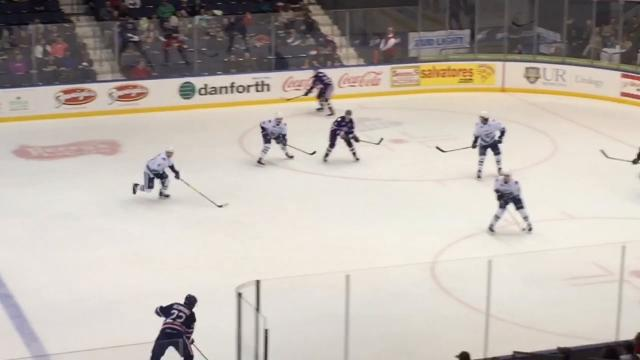 Linus Ullmark stopped 40 shots for the Amerks on Monday, Jan. 15, 2018, but the team lost 2-1 in a shootout to the Utica Comets at home. Seth Griffith scored the team's only goal.