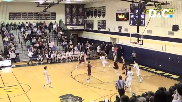 Three terrific basketball plays were finalists but Ben DiGiovanni's buzzer-beater against rival Pittsford Mendon is the winner of the Varsity Voices Play of the Week.