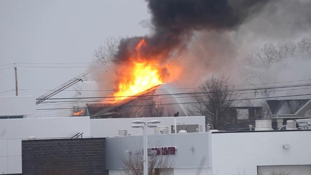 Fire destroys the former hotel at 4635 West Henrietta Road. (Feb. 18, 2018)