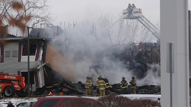 No injuries as the former Country Inns and Suites at 4635 West Henrietta Road is destroyed by fire. The building was undergoing renovations to become a senior living facility. (Feb. 18, 2018)