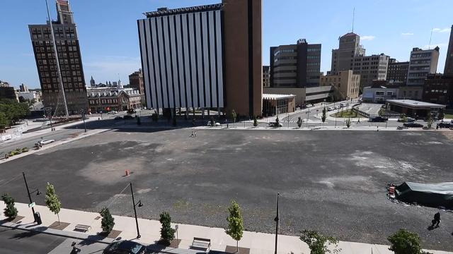 Options for Parcel 5 include a movie theater, performing arts center/slots parlor and a public square with pop-up retail. (File video: August 2016)