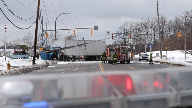Truck accident at Lexington Ave and Colfax St brought down power lines.