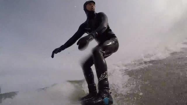 """""""A lot of people think we''re nuts. And we are,"""" Aurelien Bouche-Pillon said about riding the swells of Lake Ontario during a nor'easter. (March 21, 2018)"""