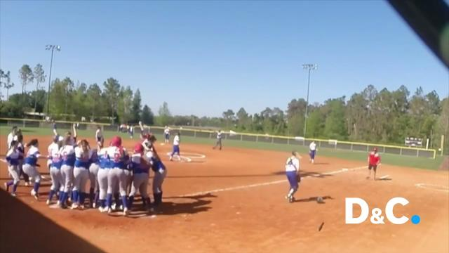 Clare Aroune's solo home run in the bottom of the 7th inning last week in Orlando, Florida gave the Fairport softball team a 9 - 8 comeback win over Independence, Ohio.