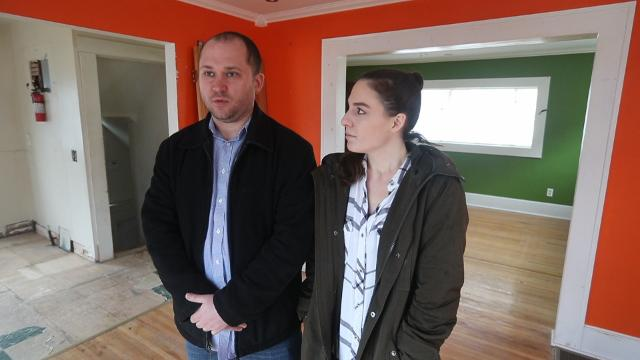 Billy Gleason and Gina Hendrickson of Penfield took the leap into house-flipping full time. DIY Network's Buyers Bootcamp will feature one of their projects. (April 18, 2018)