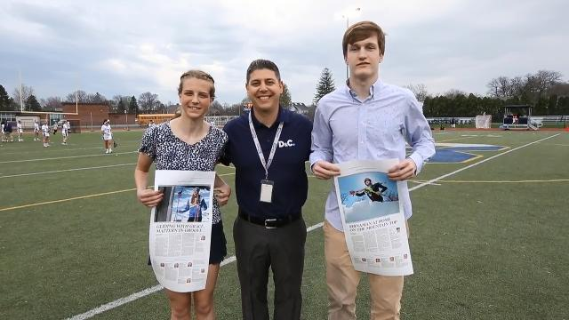 D&C reporter Jeff DiVeronica presents skiers Grace Mattern and Noah Shinaman  with replicas of their All-Greater Rochester winter pages.  Bowler Cameron Hurwitz could not be at the event. All 3 were named Athletes of the Year.