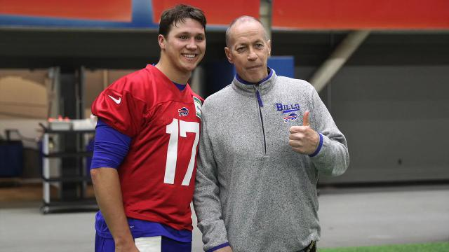 Buffalo Bills rookie quarterback Josh Allen talks about meeting Jim Kelly and and his first day at rookie mini camp.